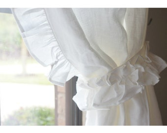 A pair of Linen curtains with ruffles on the leading edges, Nursery Curtains, fully lined, ruffle curtains, extra long curtains