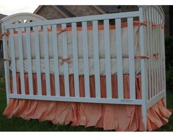 Crib bedding set, linen crib bedding, crib bumper with plush pillow insert, crib skirt, and crib sheet, baby bedding set, linen baby bedding