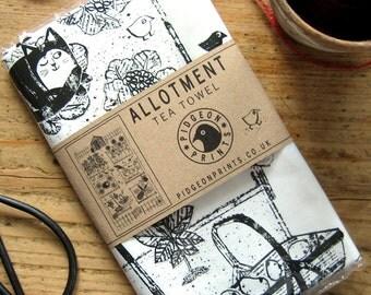 Allotment Tea Towel - Designed and Screenprinted in the UK