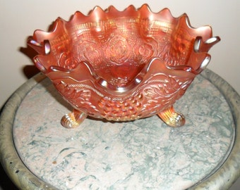Antique Carnival Glass-Fenton Pumpkin Marigold ''GRAPE AND CABLE'' Footed Orange Bowl with Persian Medallion Int. (386)I