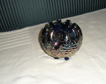 Antique Carnival Glass - Vintage Fenton Electric Blue ''VINTAGE'' Rosebowl - Iridescent Glass - Collectible Art Glass (678)