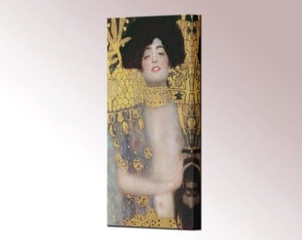 Judith and the Head of Holofernes Judith I Canvas Print Framed Gustav Klimt Wall Art Picture Ready To Hang