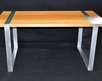 reclaimed exotic wood and metal dining table