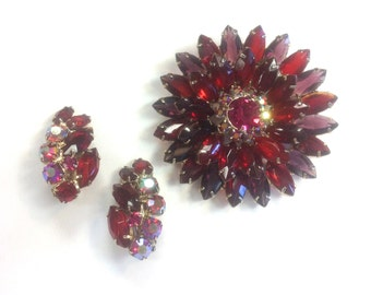 50s Julianna Red Magenta Flower Jewelry Set