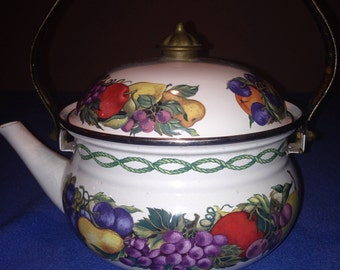 Vintage Cornucopia Tea Kettle Pot