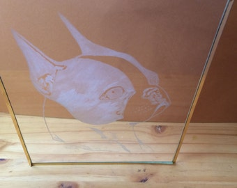Clear Glass Panel With Etched Boston Terrier