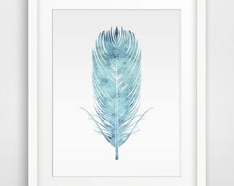 Feather blue watercolor Printable art -2 , Blue Wall art, Wall art, Printable Wall Art, Downloadable Wall Prints, Digital Art
