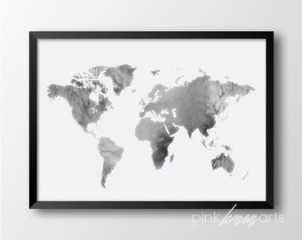 World map print, Watercolor world map, Digital print, Watercolor printable art, Watercolor print 152