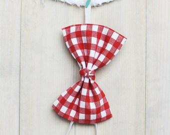 Tillie | Red + White Gingham Bow