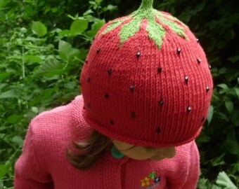 Strawberry hat , Strawberry knitted hat,Girl Knit Hat, Baby Girl Hat, Knit Beanie Hat, Hand Knitted Hat, Knitted Girl's Hat