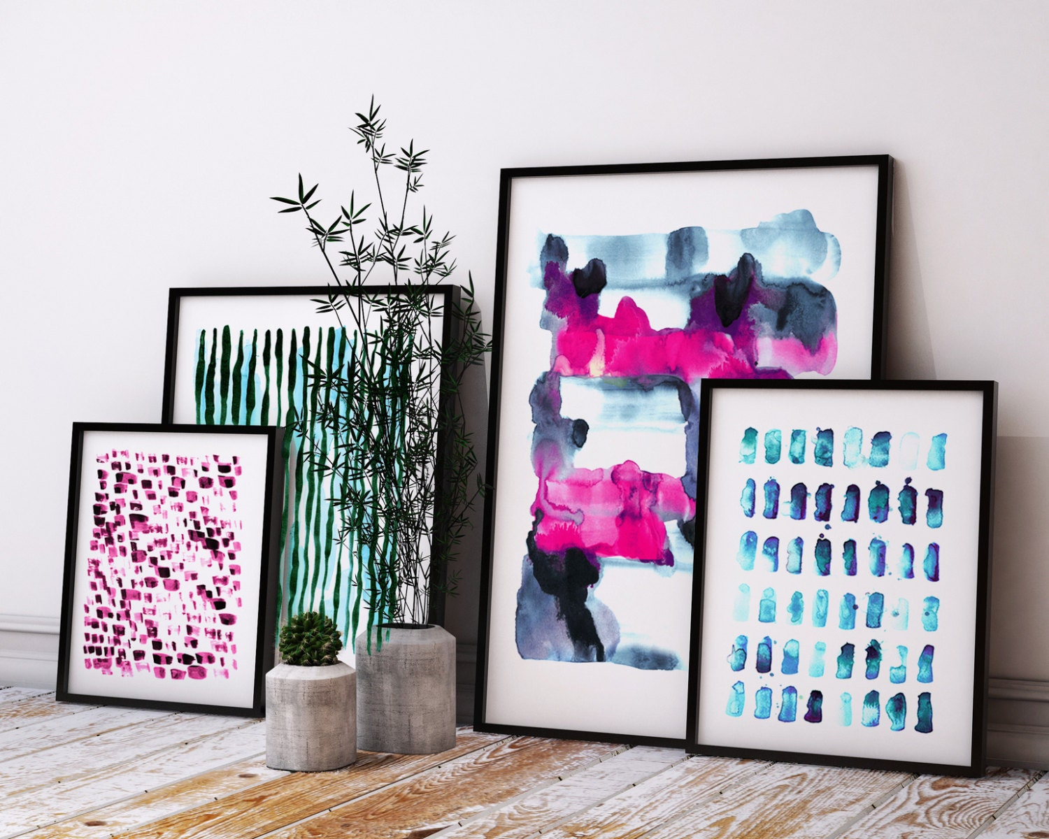 Watercolor Abstract Set Art Print Set Set Of 4 Abstract
