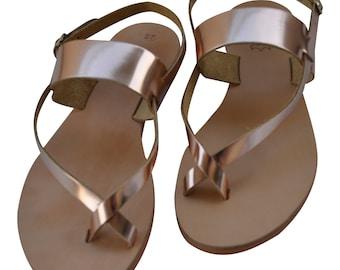 Antiparos leather handmade Greek style sandals bronze