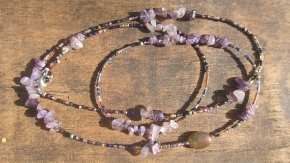 LILLY custom made waist beads, African amethyst chips, very tiny Miyuki seed beads, Fair Trade