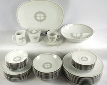 Sango Fine China Silhouette Pattern 51 Piece Setting for 8 Vintage Estate Set with Serving Pieces
