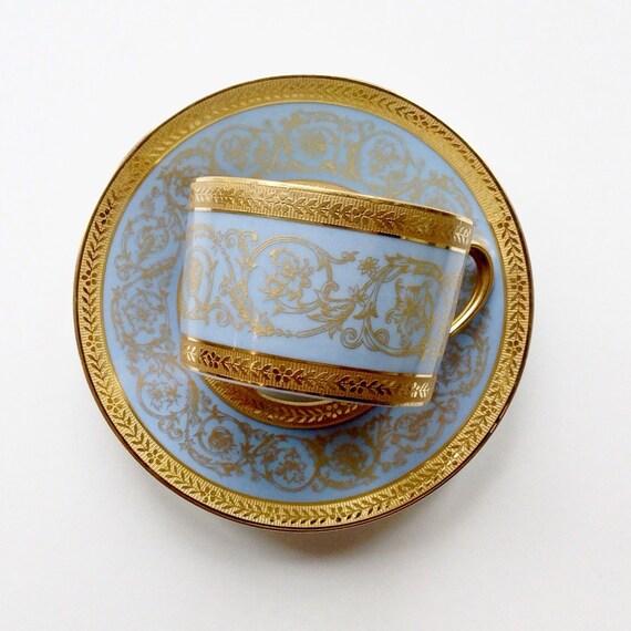 CH Field Haviland Limoges Incrustation Tea Cup and Saucer Double Dorure