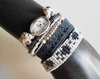 "Bracelet ""little friend"" loving row with cabochon"