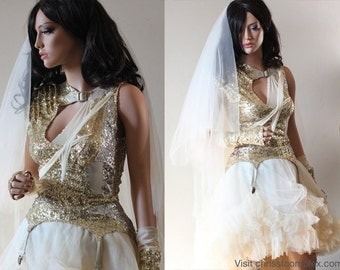 Wedding Dress Gold Sequin Mini Dress Unique One-Off Designer Bride CHRISST