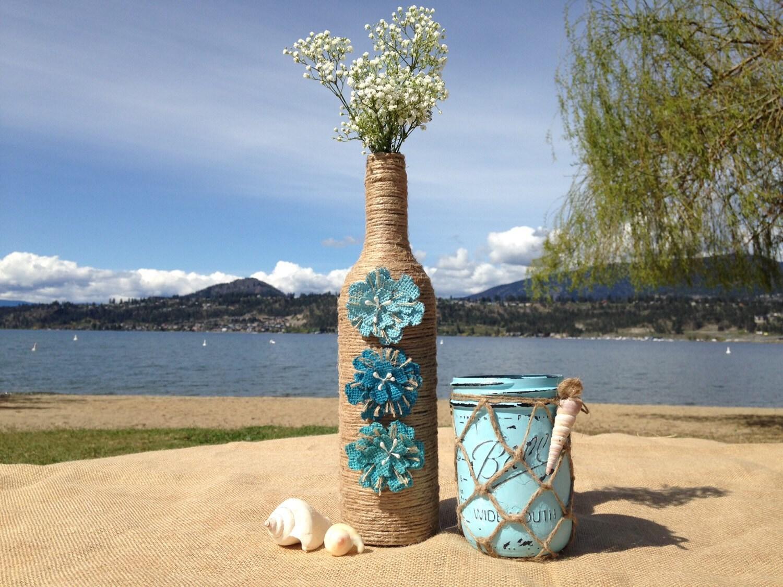 Painted mason jar vase beach decor wedding centerpiece - Como decorar jarrones ...
