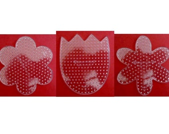 Set of 3 New FUSE BEAD PEGBOARDS Flower Tulip Daisy Spring Summer      works great with Perler      board
