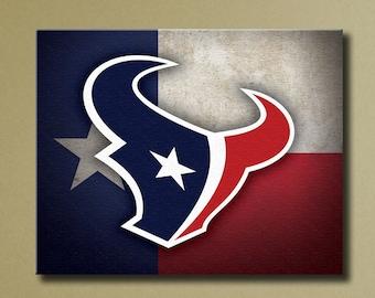 "Houston Texans Canvas Art, 16""x20"" Stretched Canvas Texas Flag Design"