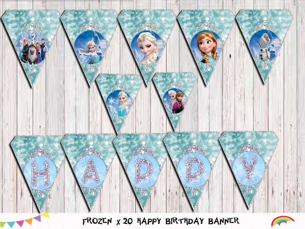Frozen Birthday Banner: Frozen Birthday Banner Printable Frozen Bunting Party