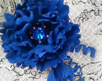 Leather flower brooch, handmade, leather jewelry