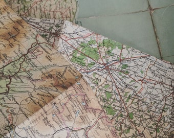 5 x vintage map sheets