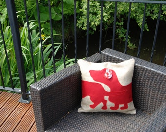Hessian cushion with  Sausage Dog, Dachshund design