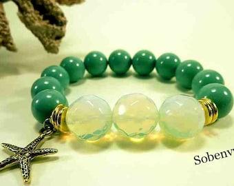 Green Jade StarFish Stretchy Bracelet, Beachy , Boho