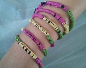 Lemon lime and pink wrap around friendship bracelet