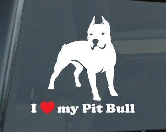 I Love my Pit Bull Die Cut Vinyl Sticker - APBT - 303