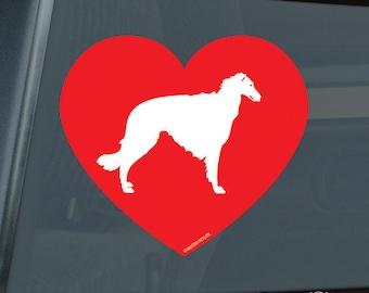 Love Borzoi Heart Die Cut Vinyl Sticker Russian Wolfhound - 397