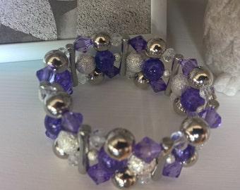 Purple Heaven Chunky Bracelet, Bead Bracelet, Stretch Bracelet, Silver Bracelet, Purple Bracelet, Thick Bracelet, Chunky Jewellery
