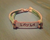 Hand stamped jewelry Toddler or Kids personalized stamped metal bracelet with leather strap of your color choice