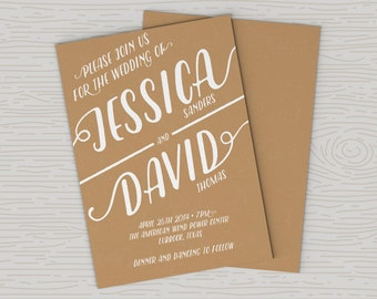 Brown Kraft Look Wedding Invitation