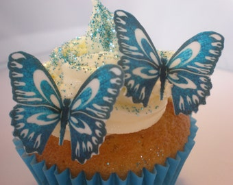 25 Royal Blue Butterflies Edible Wafer Paper Cupcake Toppers