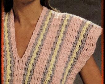 Crochet, pattern, sweater, Tank Top, crochet sweater pattern,sleeveless, vintage crochet pattern, pattern, Tank Top, summer sweater