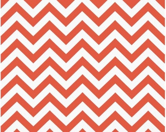 1 Yard Coral and White Chevron Fabric - Premier Prints Coral and White Zig Zag Chevron Fabric ONE YARD