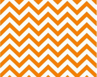 1 Yard Orange and White Chevron Fabric  - Premier Prints Tennessee Orange and White Zig Zag Chevron Fabric ONE YARD