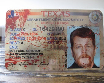 The Walking Dead [ Sgt. Abraham Ford ]  Blood spatter Driver License - B3G1F
