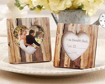 Rustic Romance Faux-Wood Heart Place Card Holder/Photo Frame (Set of 24)