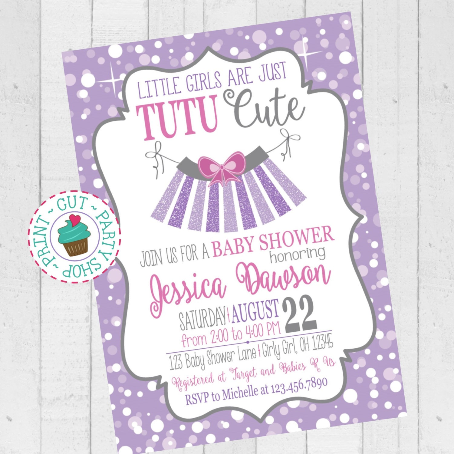 tutu cute baby shower invitation purple by clickprintpartyshop