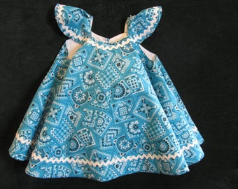 Vintage Inspired Sundress.  Turquoise Bandanna Print.  Size 9 to 12 month.