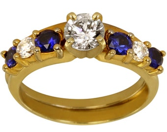 Wrap Ring Solitaire Enhancer W/ Sapphire Blue Gems & CZ In Heavy 14k Plated Gold