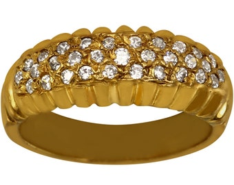 Pave Set CZ Anniversary Band In Heavy Plated 14kt Gold Ladies Ring