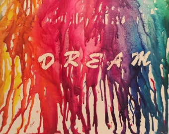 Handmade DREAM melted crayon art