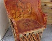 Vintage Folk Art Equipale Hand Tooled Burned Leather Barrel Chair