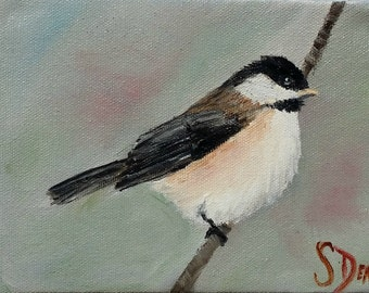 My Little Chickadee - Original Oil Painting 5x7