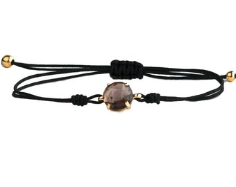 Quartz bracelet on adjustable cord - bracelet with natural stone  -  dainty macrame Bracelet - quartz bracelet -Minimalist