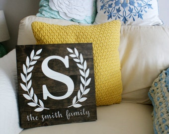 "Customizable Handmade Wood Family Name Sign- Roughly 12"" x 12"""